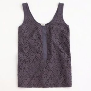 J. Crew Grey Floral Lace Tank Top
